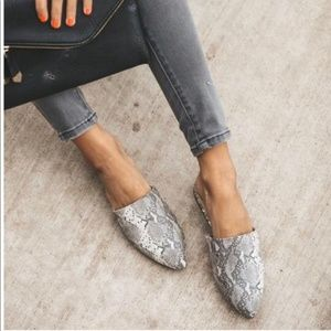 Shoes - RESTOCK SNAKE SKIN FLATS SLIP ON MULES - Shoe